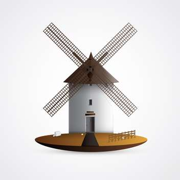 Vector illustration of old windmill house on white background - vector gratuit #125722