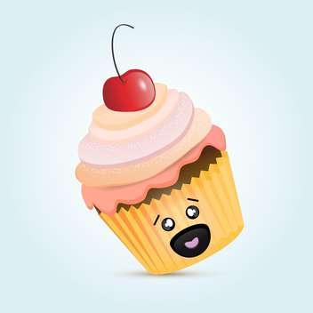 colorful illustration of cute cupcake dessert with red cherry on top on blue background - vector gratuit(e) #125732