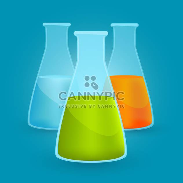 Vector illustration of three flasks with different chemical solutions on blue background - Free vector #125742