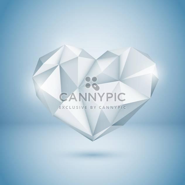 Vector illustration of shine diamond heart on blue background - Free vector #125752