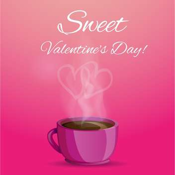 Vector illustration of coffee cup with love heart shape smoke on pink background - vector gratuit(e) #125822