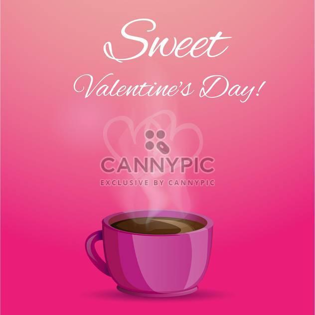 Vektor-Illustration der Kaffeetasse mit Liebe Herzform Rauch auf rosa Hintergrund - Kostenloses vector #125822