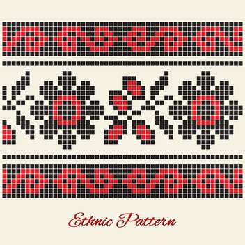 Vector illustration of black and red flower ethnic pattern on white background - Free vector #125832