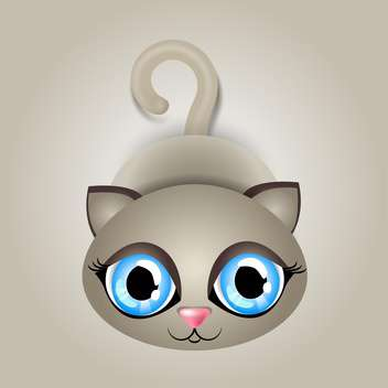 Vector illustration of cute cat with big blue eyes on gray background - бесплатный vector #125842
