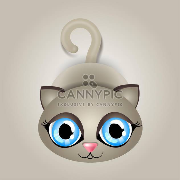 Vector illustration of cute cat with big blue eyes on gray background - Free vector #125842