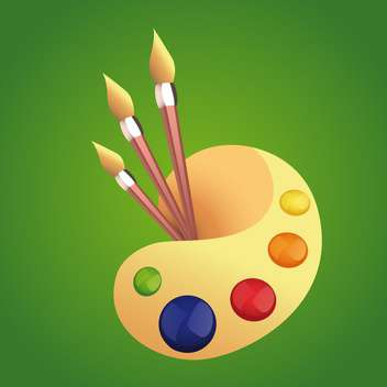 Vector illustration of colorful art palette with brushes on green background - Free vector #125872