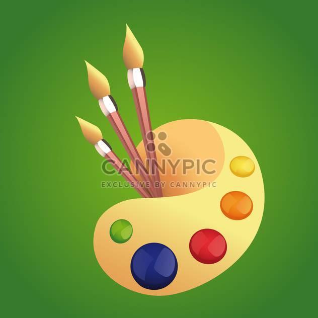 Vektor-Illustration der bunte Kunst-Palette mit Pinseln auf grünem Hintergrund - Kostenloses vector #125872