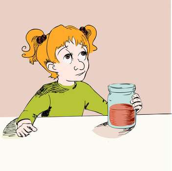 Vector illustration of cartoon girl with jam in hand - Free vector #125982