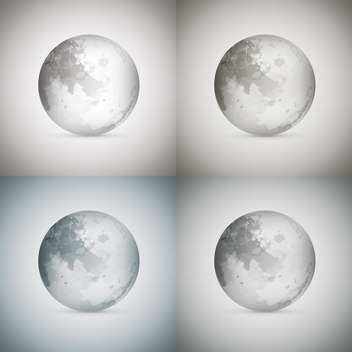 Vector illustration of four transparent moons on grey background - Free vector #125992