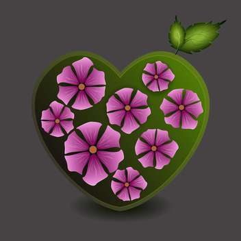 Vector illustration of green heart with purple flowers on grey background - бесплатный vector #126012