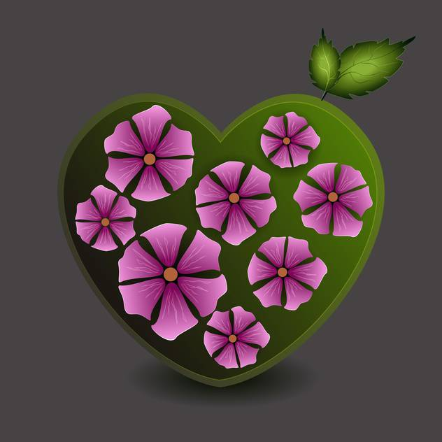 Vector illustration of green heart with purple flowers on grey background - Free vector #126012