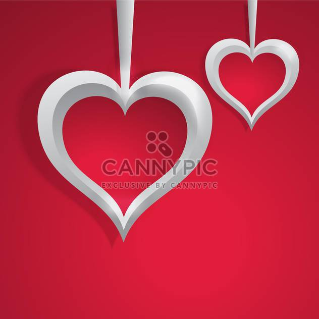 Vector background with white hearts on red background for valentine card - Free vector #126022