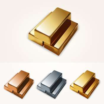 Vector illustration of gold bars on white background - vector gratuit #126072