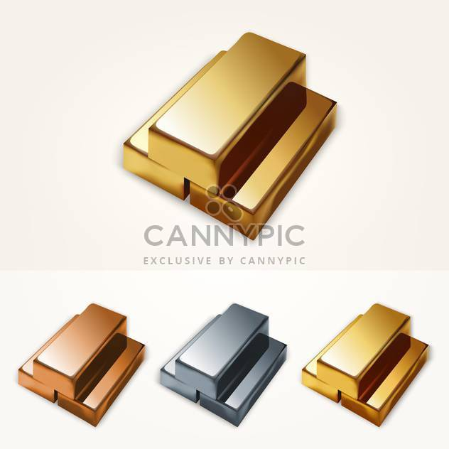 Vector illustration of gold bars on white background - Free vector #126072