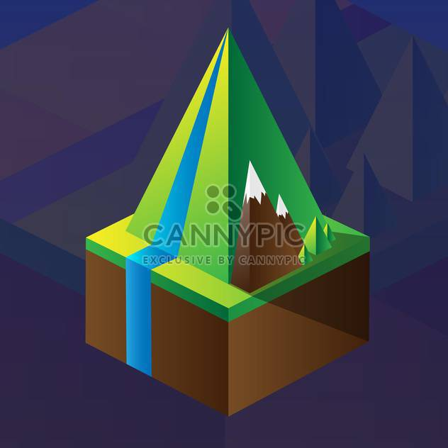 square maquette of mountains on dark blue background - Free vector #126192