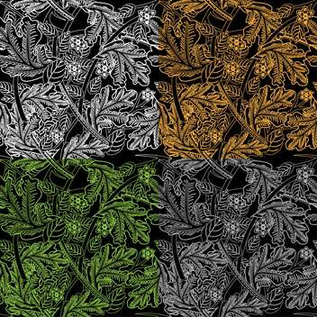 Vector illustration of abstract floral background with leaves on black background - Free vector #126232