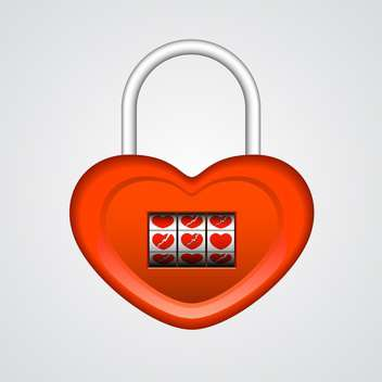 Vector illustration of red heart shaped lock on white background - Free vector #126262