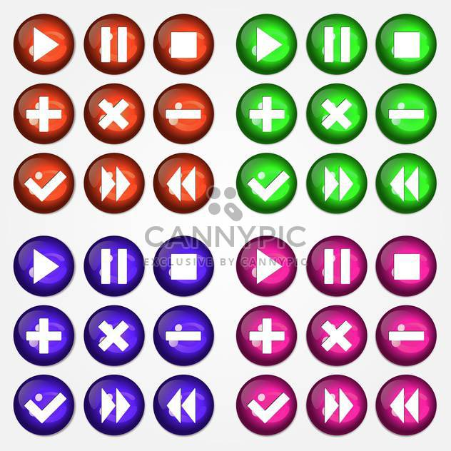 Vector illustration of colorful round web icons set on white background - Free vector #126302