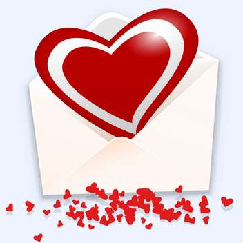 Vector illustration of open envelope with red heart on white background - бесплатный vector #126342