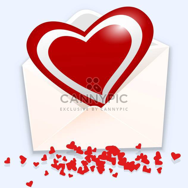 Vector illustration of open envelope with red heart on white background - Free vector #126342
