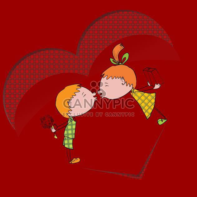 Vector illustration of two kids kissing each other on red background - Free vector #126382