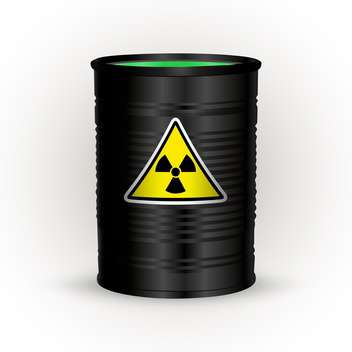 Vector illustration of black metal barrel with nuclear waste on white background - vector gratuit #126402