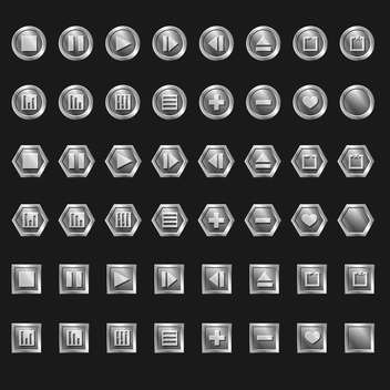 Vector set of web buttons on black background - Free vector #126552