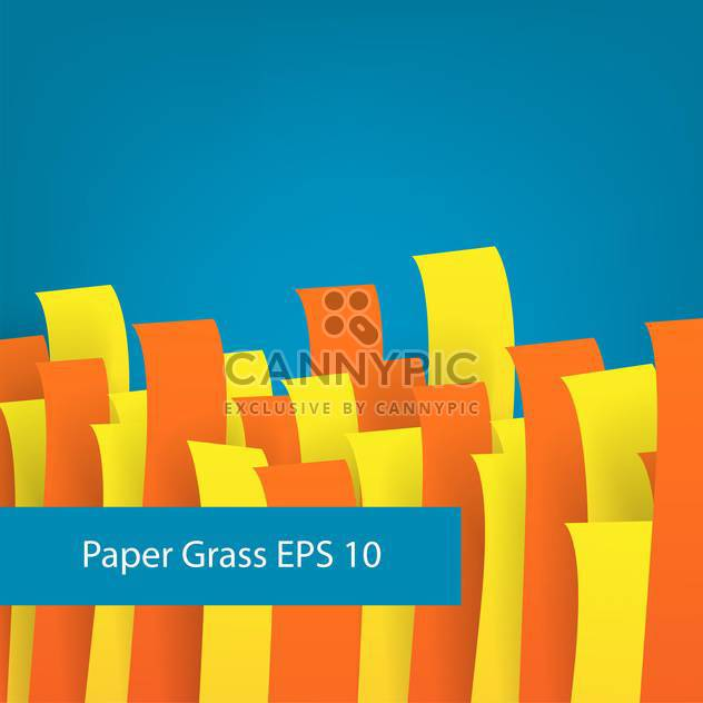 colorful illustration of paper grass on blue background - Free vector #126572