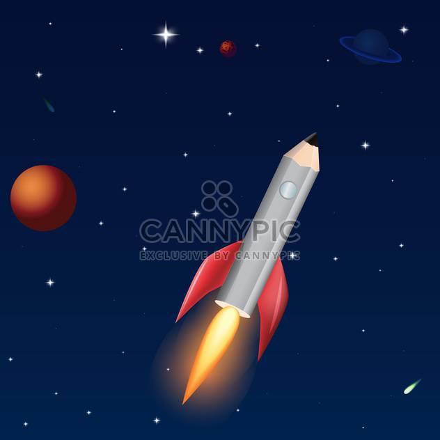 Vektor-Illustration der Bleistift-Rakete auf dunkel blauem Himmel Hintergrund mit Sternen - Kostenloses vector #126582