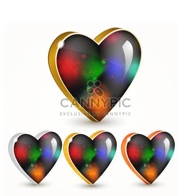 Vektor setzen glänzende bunte Herzen auf weißem Hintergrund - Free vector #126592