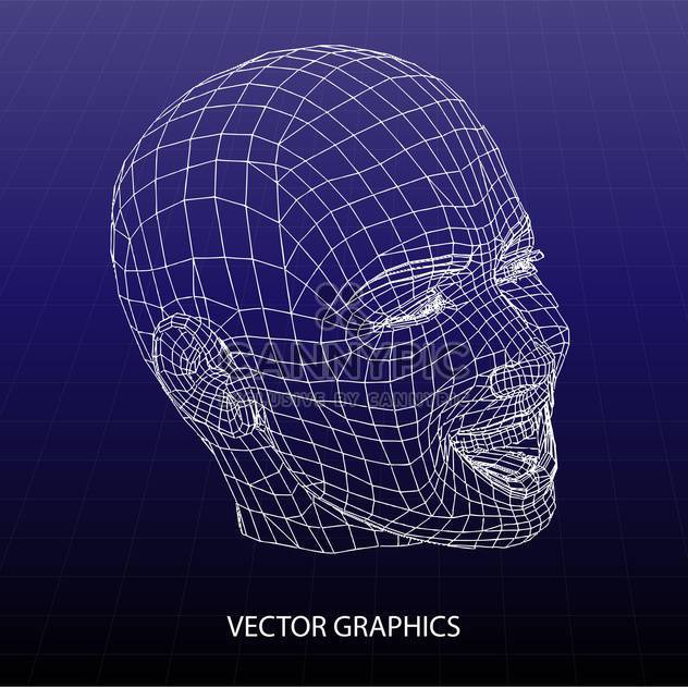 vector model of human face on blue background - Free vector #126602