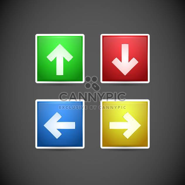 Vector set of arrows colorful buttons on dark grey background - Free vector #126632