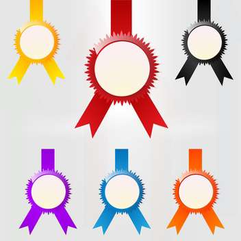 Vector set of colorful medal emblems on white background - Free vector #126662