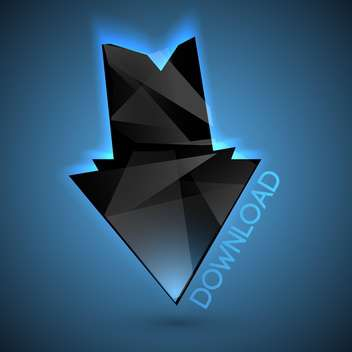 Vector black download arrow on blue background - vector gratuit #126712