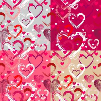 Vector background with different hearts for valentine card - vector #126722 gratis