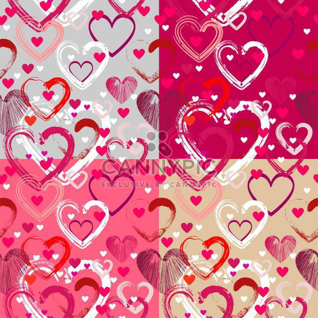 Vector background with different hearts for valentine card - Free vector #126722