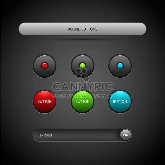 Vector set of round buttons on dark background - Free vector #126772