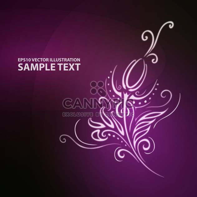 Vector illustration of abstract floral purple background with ornament - Free vector #126792