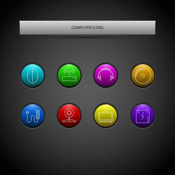 Vector set of round shaped computer icons on dark background - vector gratuit #126842