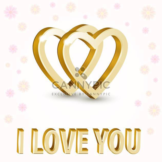 Vector background with golden hearts on white background with flowers - Free vector #126922