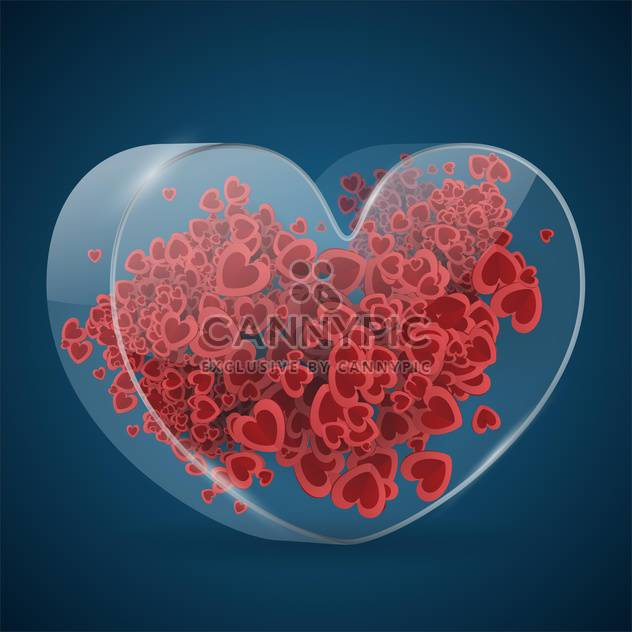 Vector Valentine blue background with red hearts - Free vector #126972