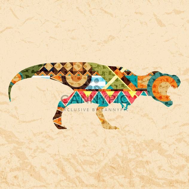 tyrannosaurus dinosaur composed from colored patches on brown background - Free vector #126982