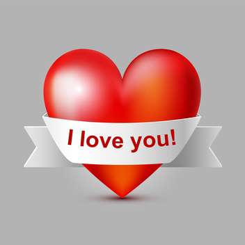 Vector illustration of red heart with ribbon - Free vector #127002