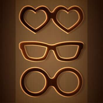 Vector set of glasses on brown background - vector gratuit #127072