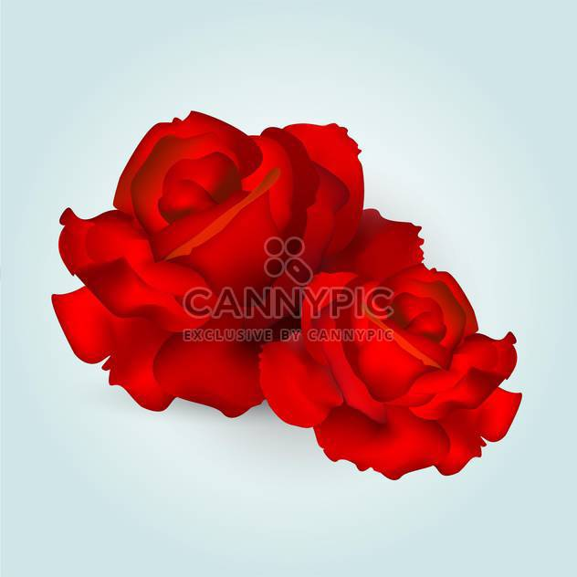 Vector illustration of red roses on blue background - Free vector #127092