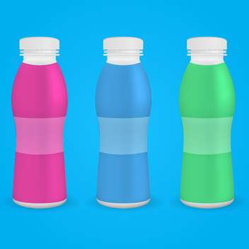 plastic bottles of drinking yogurt on blue background - vector gratuit #127142