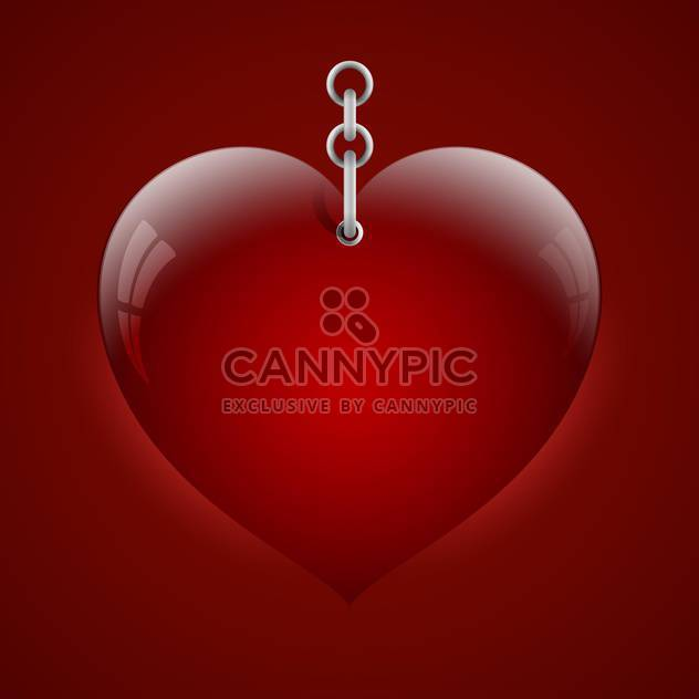 Vector illustration of heart on chain on red background - Free vector #127162