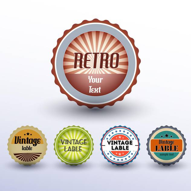 Vector set of round shaped vintage labels - vector gratuit(e) #127172