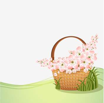 Basket with beautiful pink flowers with text place - Kostenloses vector #127192