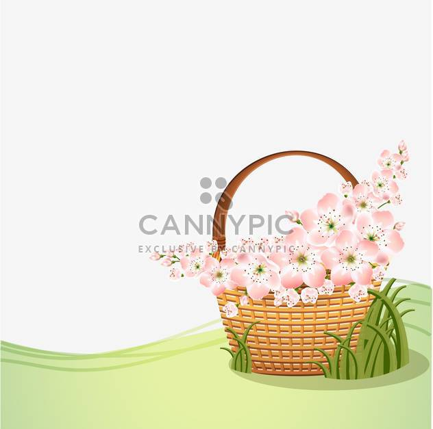 Basket with beautiful pink flowers with text place - Free vector #127192